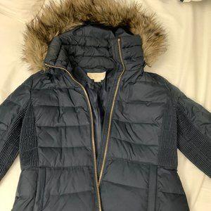 Michael Kors Navy Puffy Jacket with Fur Hood